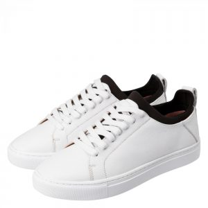 Leder-Sneakers mit Sockeneinsatz