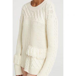 Zopfstrick-Pullover mit Fransen