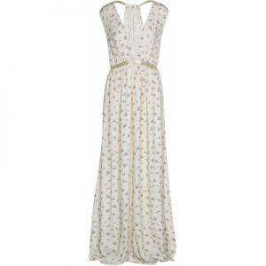 Langes Kleid mit Vogelmuster