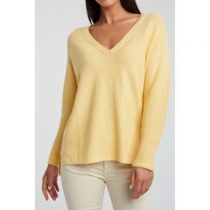 Gerippter Pullover mit Seitenschlitzen