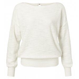 Pullover mit Rundsaum und Zierknopf hinten