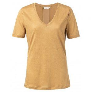 T-Shirt mit V-Ausschnitt und Satinleiste hinten