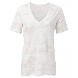 Leinen T-Shirt mit Printmotiv